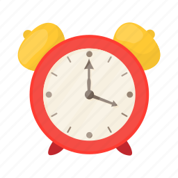 alarm, cartoon, clock, four, red, table, time icon