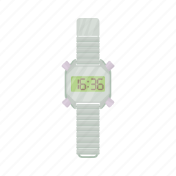 cartoon, clock, digital, time, watch, wrist, wristwatch icon