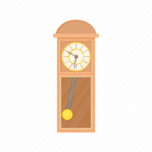 antique, cartoon, clock, grandfather, old, time, wood icon