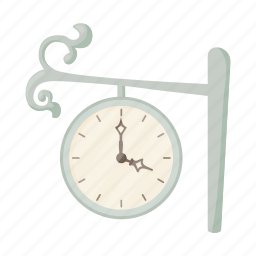 cartoon, clock, hour, minute, station, time, train icon