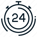 24hours, all, clock, customer, service, support, time icon