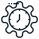 business, clock, gear, management, setting, time icon