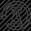 around, arrow, history, hourglass icon