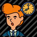 time, thinking, businessman, bubble, menagement, man