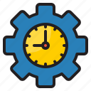setting, time, management, clock, gear