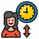 woman, time, management, clock, watch