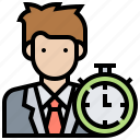 businessman, clock, hour, time, working icon