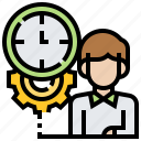 clock, concentrate, man, management, time icon