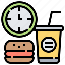 break, clock, fastfood, relax, time icon