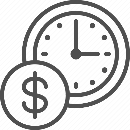 clock, coin, line, management, money, time, timer icon