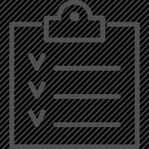 board, check, checklist, clipboard, line, management, paper icon
