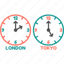 clock, london, time, time zone, tokyo, watch icon