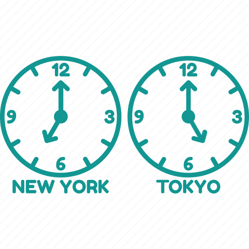 clock, newyork, time, time zone, tokyo, watch icon