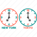 clock, newyork, time, time zone, tokyo, watch icon