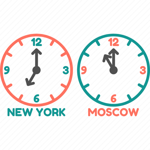clock, moscow, newyork, time, time zone, watch icon