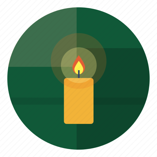 candle, cozy, decoration, fest, festive, green icon