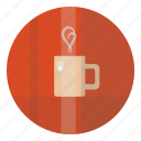 cafe, coffee, cozy, cup, hot, red, tea, warm icon