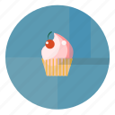 bake, bakery, blue, blue pink, cherry, cream, cupcake, sweet icon
