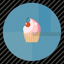 bake, bakery, blue, blue pink, cherry, cream, cupcake, sweet icon