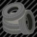 cartoon, heap, isometric, logo, object, road, tyre