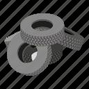 cartoon, isometric, logo, object, pile, road, tyre