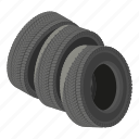 automobile, cartoon, isometric, logo, object, road, tyre