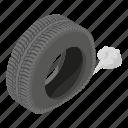 cartoon, deflating, isometric, logo, object, road, tyre