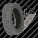 cartoon, isometric, logo, object, road, spinning, tyre