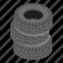 cartoon, cover, isometric, logo, object, road, tire