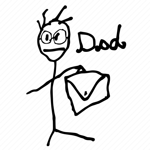 dad, daddy, father, happy birthday, papa, stick man, toddler doodle icon