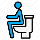 bowel, bowl, people, seat, sit, toilet, using icon