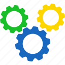 factory, gear, settings, software, support, tools, work icon