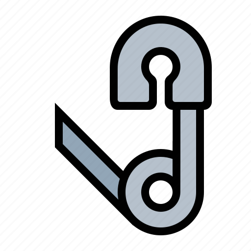 clamp, clip, fastener, hook, pin, safety pin icon