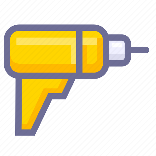 construction, electric drill, tool icon