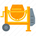 concrete, construction, mixer icon