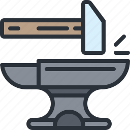 anvil, equipment, hammer, smith, tools icon