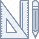 design, drawing, equipment, pancil, ruler, square, tools icon