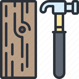 construction, equipment, hammer, tool, wood icon