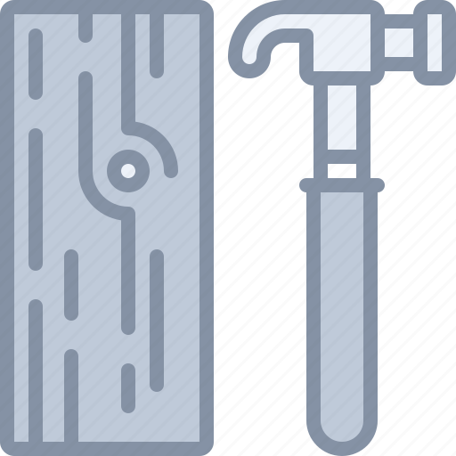 construction, equipment, hammer, tool, wood icon