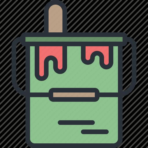 brush, bucket, equipment, paint, renovation, tool icon