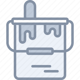 brush, bucket, equipment, paint, renovation, tool icon