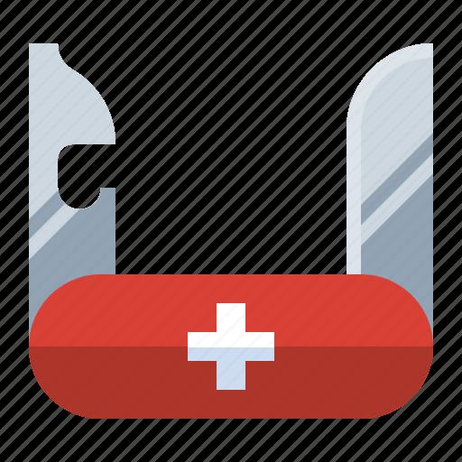 corkscrew, cut, knife, pocket, scissors, screwdriver, swiss army icon