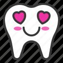emoji, emoticon, face, love, tooth