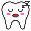 emoji, emoticon, face, sleep, tooth icon
