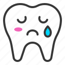 emoticon, face, emoji, tooth, cry icon