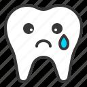 emoji, emoticon, face, sad, tooth icon