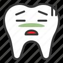 emoticon, face, emoji, tooth, sick icon