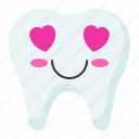 emoji, emoticon, face, love, tooth icon
