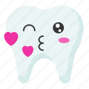 emoji, emoticon, face, kiss, tooth icon