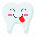 emoji, emoticon, face, tongue, tooth icon